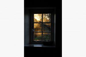 Granary window sunset